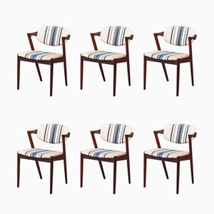 Rosewood Armchairs by Kai Kristiansen for Schou Andersen, 1960s, Set of 6