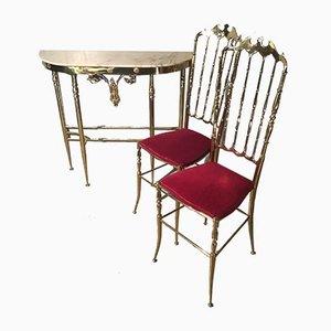 Juego italiano de mármol y latón con consola y dos sillas, años 40