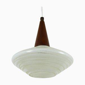 Lampada a sospensione in vetro e legno di Philips, anni '60