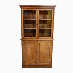 Antiker viktorianischer glasierter Bücherschrank aus Pinienholz