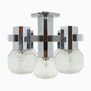 Lampada da soffitto in vetro e metallo cromato di Cosack, Germania, anni '60