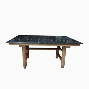 Mesa de comedor francesa de roble y mármol de Guillerme et Chambron para Votre Maison, años 50