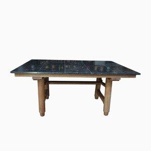 Table de Salle à Manger en Chêne et en Marbre par Guillerme et Chambron pour Votre Maison, France, 1950s