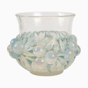 Vase Plums Art Déco en Verre par René Lalique, 1930s