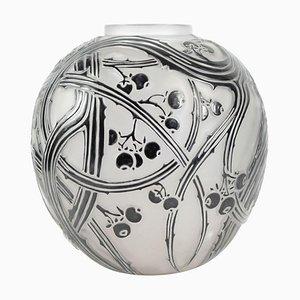 Vaso Art Déco in vetro smaltato nero, anni '20