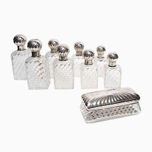 Antique Crystal and Silver Toiletry Set from Cardeilhac & Baccarat, 1880s