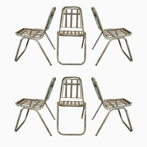 Industrial French Metal Stackable Garden Chairs, 1930s, Set of 6