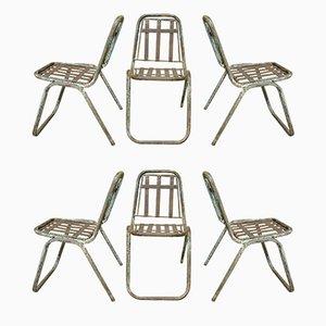 Stapelbare industrielle französische Esszimmerstühle mit Gestell aus Metall, 1930er, 6er Set