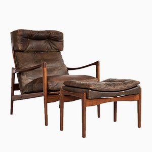 Leather and Teak Lounge Chair & Ottoman Set by Ib Kofod Larsen for OPE, 1960s