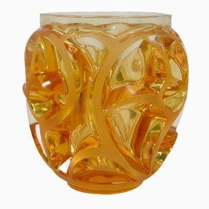 Jarrón Whirlwind francés vintage de cristal de René Lalique, década de 2000