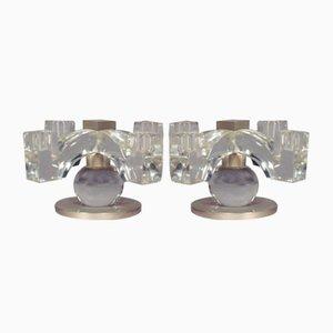 Lampade da soffitto in cristallo, anni '30, set di 2