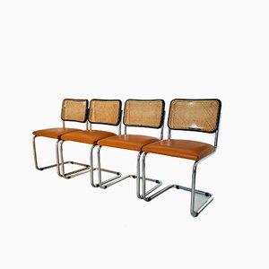 Esszimmerstühle aus Stahl und Öko-Leder von Marcel Breuer, 1950er, Set of 4