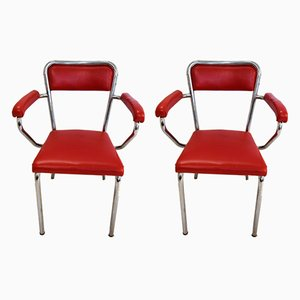 Italian Chrome Plated Armchairs from Mobdor, 1940s, Set of 2