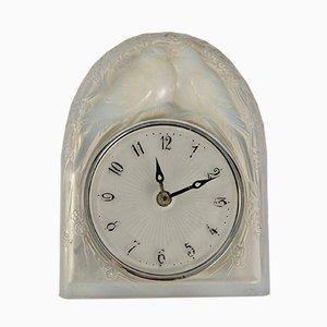 Orologio Doves Art Déco in vetro opalino di René Lalique, Francia, 1926