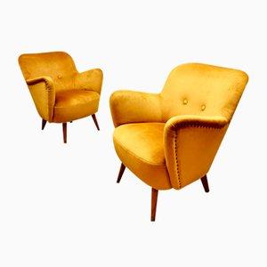 Mid-Century Italian Velvet Armchairs, 1950s, Set of 2