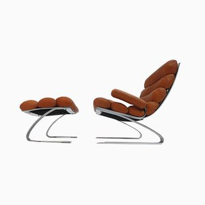Leather Sinus Lounge Chair & Ottoman Set by Reinhold Adolf for Cor, 1970s