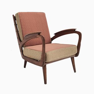 Carved Walnut Stained Birch Armchair from De Ster Gelderland, 1950s