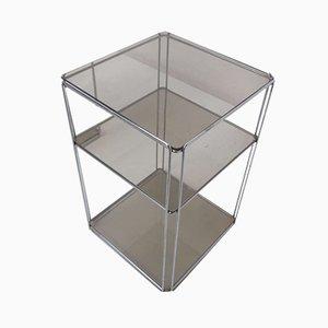 Mesas auxiliares Isoceles de metal cromado y vidrio ahumado de Max Sauze para Group SA, años 70. Juego de 2