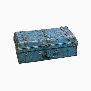 Baule industriale indiano in ferro blu e metallo zincato, anni '60