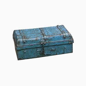 Industrial Indian Blue Iron and Galvanized Metal Trunk, 1960s