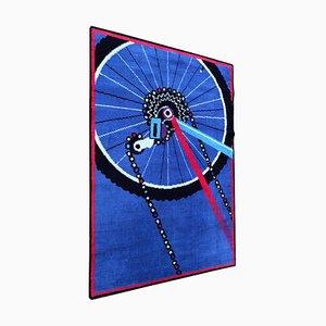 Alfombra postmoderna con motivo de bicicleta de Desso, años 70