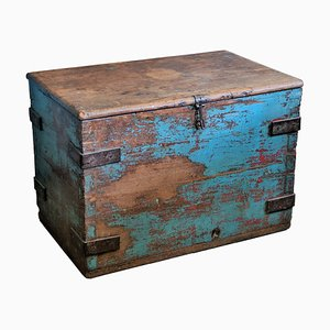 Large Vintage Indian Wooden Trunk, 1960s