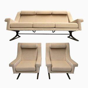 Italienisches Grand Prix Wohnzimmerset mit Bezug aus Angorawolle von Maurice Calka für Arflex, 1960er