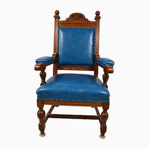 Vintage Golden Oak Throne Armchair
