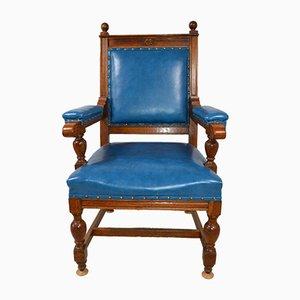 Vintage Golden Oak Throne Chair