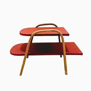 Tavolino in faggio e vinile di Hugues Steiner, Francia, anni '50