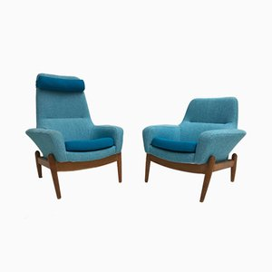 Mid-Century Danish Oak & Wool Lady & Senior Chairs by Ib Kofod Larsen for Bovenkamp, Set of 2