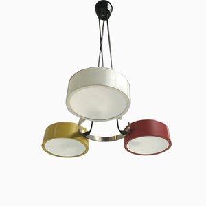 Lámpara de techo italiana de vidrio y metal tricolor de Bruno Gatta para Stilnovo, años 50