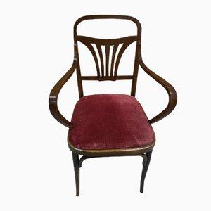 Vintage Art Nouveau Italian Beech Lounge Chair, 1920s