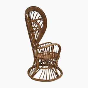 Italian Wicker Lounge Chair by Lio Carminati for Bonacina, 1950s