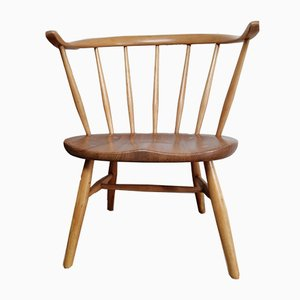 Beech & Elm Low Cowhorn Armchairs by Lucian Ercolani for Ercol, 1950s, Set of 2