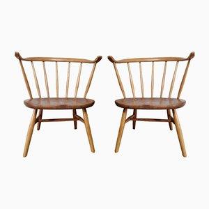Niedrige Armlehnstühle aus Buche & Ulmenholz von Lucian Ercolani für Ercol, 1950er, 2er Set