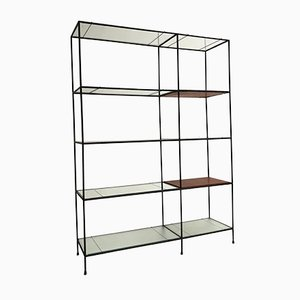 Danish Metal, Teak & Glass Abstracta Shelving Unit by Poul Cadovius for Royal System, 1960s