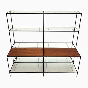 Estantería Abstracta danesa de metal, teca y vidrio de Poul Cadovius para Royal System, años 60