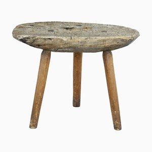 Sgabello rustico antico in legno di pino