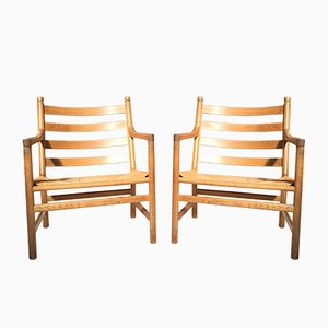 Danish Oak CH44 Lounge Chairs by Hans J. Wegner for Carl Hansen & Søn, 1960s, Set of 2