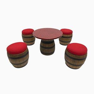 Juego de mesa y taburetes hecho con barriles de whisky de Emsa, años 70
