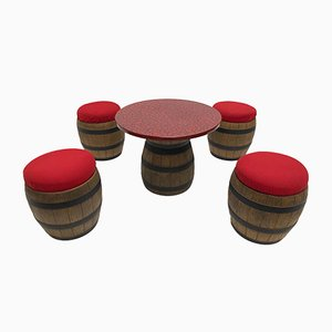 Whiskey Barrel Table & Stools Set from Emsa, 1970s