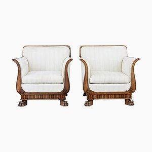 Antique Mahogany Armchairs, Set of 2