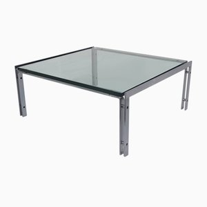Dutch Glass and Steel Coffee Table from Metaform, 1960s