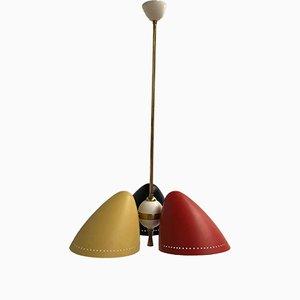 Lámpara de araña de aluminio y latón tricolor de H. Th. JA Busquet para Hala, años 50