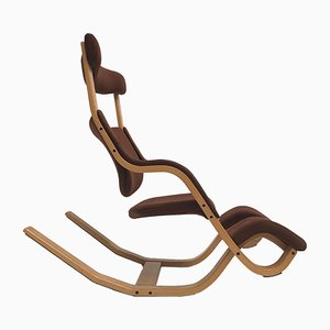 Scandinavian Modern Beech Gravity Lounge Chair by Peter Opsvik for Stokke, 1984