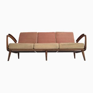 Carved Walnut Stained Birch Three-Seat Sofa from De Ster Gelderland, 1950s