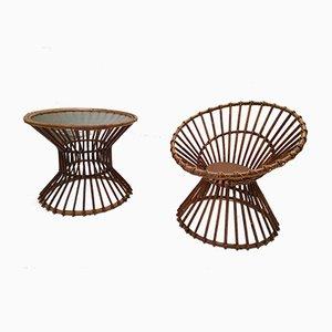 Gartentisch & Stuhl aus Rattan von Rohé Noordwolde, 1950er