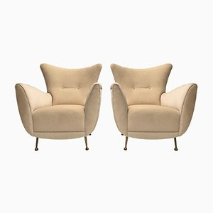 Italian Brass & Mohair Lounge Chairs from ISA Bergamo, 1950s, Set of 2
