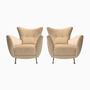 Italienische Sessel mit Messingbeinen & Bezug aus Angorawolle von ISA Bergamo, 1950er, 2er Set
